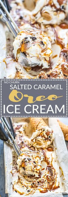 No Churn Salted Caramel Oreo Ice Cream is the perfect frozen sweet treat for summer. Best of all, made with just 6 ingredients and no ice cream maker needed! Made with a smooth and creamy vanilla ice cream and ribbons of salted caramel and chunks of Oreo