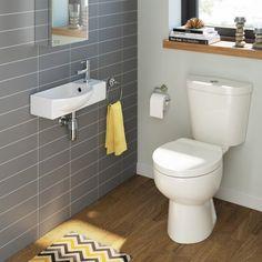 Crosby Toilet & Isla Wall Hung Basin Cloakroom Set - Medium [PT-BS905] - £189.99 : Platinum Taps & Bathrooms