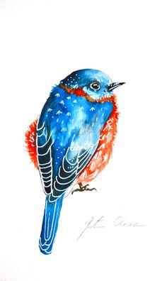 Watercolor Paining Bird Painting Bluebird 6x9 by WoodPigeon, $25.00