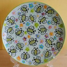 ceramic teacher plates | Bees & Flowers - Teachers Class Plate