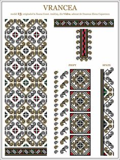 Semne Cusute: iie din Vidra, Vrancea, MOLDOVA Folk Embroidery, Learn Embroidery, Embroidery For Beginners, Cross Stitch Embroidery, Embroidery Patterns, Knitting Patterns, Cross Stitch Borders, Cross Stitching, Cross Stitch Patterns