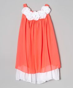 Look what I found on #zulily! Coral & White Swing Dress - Infant, Toddler & Girls by Kid Fashion #zulilyfinds