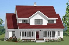 ideas farmhouse house plans one story metal roof Farmhouse Plans, Modern Farmhouse, Farmhouse Front, Red Roof House, House Plan With Loft, Loft Plan, Casa Loft, Interior Minimalista, Foyer Decorating