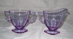 Alexandrite Neodymium glass creamer & sugar set