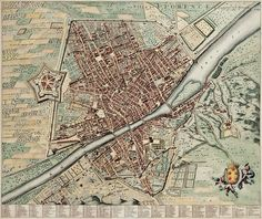 A highly detailed and beautifully engraved map of the Jewel of the Renaissance. The Fortress da Basso, also called Fortress of San Giovanni Battista in honor of the Saint protector of Florence, is prominent at the left edge of the city.
