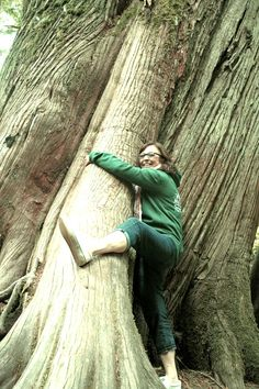 Tree-Hugger: Seek out the biggest tree you can find and literally embrace nature! Photo by Maggie May. Old Trees, Big Tree, Travel Memories, Vancouver Island, Marine Life, Holidays And Events, Mother Earth, Cathedral, Things To Do