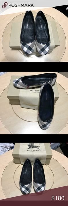 Burberry Ballet Flats Traditional Burberry plaid ballet flats.  Women's Size 8.5 or 38.5.  Only worn a few times....VERY GOOD condition!   There is a scuff in the leather at the bottom of the right shoe at the heel.  Shown in photo. Run a little small.  Included: original box and original never used dust bag. Burberry Shoes Flats & Loafers