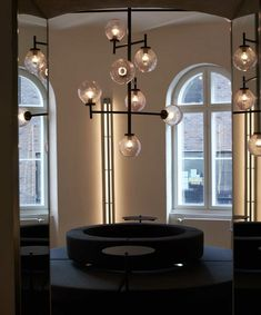 RUBN - Crafted in Sweden built by hand Modern Chandelier, Modern Lighting, Chandeliers, Tower Apartment, Historical Architecture, Light Installation, Modern Luxury, Table Lamp, Ceiling Lights