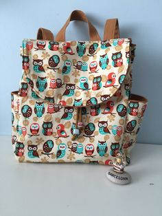 ON SALE Owl print Backpack with adjustable straps Cotton fabric  Medium new  Bag by fusunsengul on Etsy