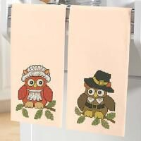 Herrschners® Pilgrim Owls Towel Pair Stamped Cross-Stitch