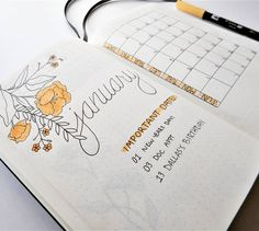 Here's my monthly spread for January! Can you tell I'm a fan of @feebujo? She's a total Inspiration! Bullet Journal   BUJO   Planner   Monthly Spread   Bullet Journal Page Ideas   Bullet Journal Inspiration