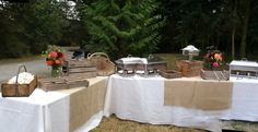 #Rustic #buffet station by #WhidbeyPartyGirls events on Whidbey Island.