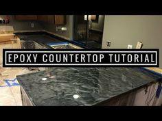 Countertop Resurfacing with Metallic Epoxy   Silver and Charcoal - YouTube