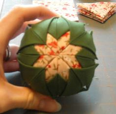 Crafter without a Cat: Quilted Ball Ornament Tutorial Folded Fabric Ornaments, Fabric Christmas Ornaments, Christmas Crafts To Make, Quilted Ornaments, Christmas Sewing, Christmas Balls, Christmas Snowflakes, Christmas Trees, Christmas Decor