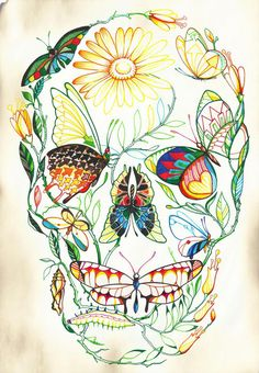 I like this picture because the artist used different forms of nature such as, flowers and butterflies and made it in shape of a skull. This picture is linked to my own work by using different tonal colours and expressing how to layout images or drawings or even paintings based on natural forms.