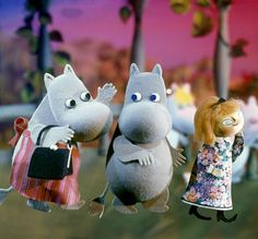 The Moomins - a family of trolls  (resembling hippos!) who live in Moominvalley in Finland.  Created by Swedish writer and illustrator Tove Jansson. Turned into a TV series in the UK in the 1980s.