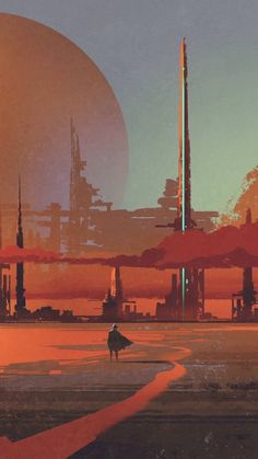 Concept art sci fi landscape, sci fi c Cyberpunk Art, Fantasy Landscape, Sci Fi Wallpaper, Sci Fi Environment, Digital Painting, Environmental Art, Space Art, Scenery, 70s Sci Fi Art