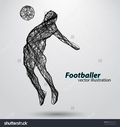 Silhouette Of A Football Player From Wires. Text And Background On A Separate Layer, Color Can Be Changed In One Click Vektorová ilustrace 428916571 : Shutterstock