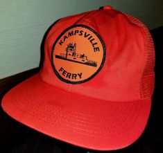 FOR YOUR CONSIDERATION A VERY COOL PAIR KAMPSVILLE FERRY ILLINOIS MESH  SNAPBACK TRUCKER STYLE HAT 94298502b962