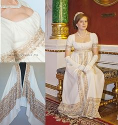 2 Indian dress shawls hand sewn in to a Regency gown,  by Elena Potapova