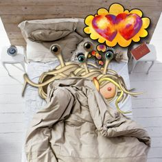 FSM The Flying Spaghetti Monsters happy in love