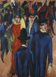 """Just a Second: primitivism  Ernst Ludwig Kirchner, Berlin Street Scene, 1913, oil on canvas, 47.6"""" x 37.4"""", Neue Galerie, New York, Public Domain via Wikimedia Commons.  http://www.the-art-minute.com/just-a-second-primitivism/"""