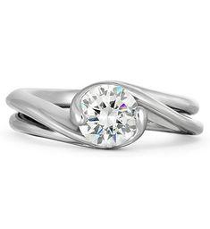 Original Diana Vincent Contour Engagement Ring #unique #original #bridal #modern #contemporary #handcrafted #MadeinAmerica #wedding