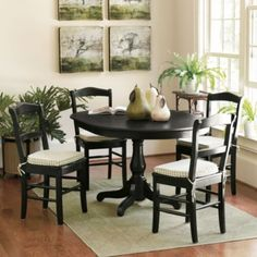 Gather around a brilliant dining table with friends and family! Shop stylish and fun kitchen tables, dining room tables, patio tables and more at Ballard Designs. Dining Room Design, Dining Table, Round Kitchen Table, Dining Chairs, Dining Room Sets, 5 Piece Dining Set, Home Decor, Home Furnishings, Dining Room Table