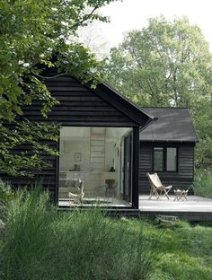 Tiny prefab home with deck