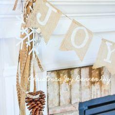Christmas Banners, Christmas Decorations, Christmas Ideas, Little Christmas, Rustic Christmas, Twine Wreath, Burlap Flag, How To Make Banners, Dollar Tree Decor