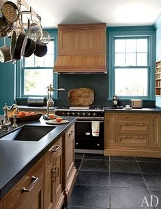The kitchen of a Connecticut home designed by Miles Redd.