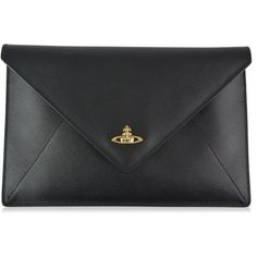 Vivienne Westwood Accessories Orb Envelope Clutch Bag ($160) ❤ liked on Polyvore featuring bags, handbags, clutches, purses, black, faux purses, vivienne westwood, purse clutches, handbags clutches and envelope clutch bags