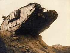British Mark IV female tank during trials, 1917. The Mark IV was an up-armoured version of the Mark I tank. To improve safety, its fuel was also stored in a single external tank located between the...