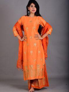 a9ba0e5a6d Orange Cotton Chanderi Foil Handblock Printed Suit - Set of 3 Ladies Suits  Indian, Indian