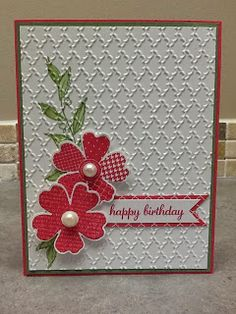 handmade birthday card from Christi's Creative Crew ,,, luv the textures with a clean and simple design ... main panel with stamped leaves embossed all over ... flowers stamped, punched and popped ont top of each other ... fishtail sentiment banner on the the panel ... like it!! ... Stampin' Up!