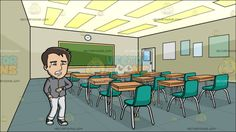 A Desperate Man Running Out Of Time At Inside A High School Classroom :  A man with brown black hair wearing a gray long sleeved shirt with collar light gray pants black with white sneakers clenches his teeth while crying as he looks at the time on the watch that is around his left wrist right hand placed inside his pocket. Set in view from inside a school classroom with dark beige walls lighted ceiling dark teal flooring a green board clock white door brown desk and aqua green chairs.