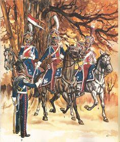 Szwoleżerowie w mundurach wielkich. Na pierwszym planie po lewej, w tenue de la compagne.