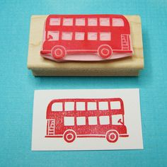 Too cute! Doubledecker London Bus Stamp  Hand Carved Rubber Stamp by skullandcrossbuns, £7.00