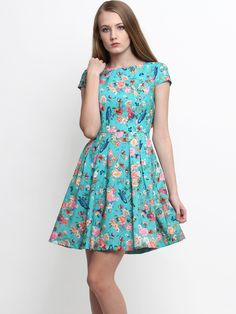 Nadia Floral Capped Sleeve Dress Mint