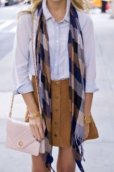 Fall outfit sigh plaid scarf, chambray shirt and suede skirt