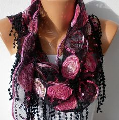 Red Black Scarf    Headband Necklace Cowl with Lace by fatwoman,