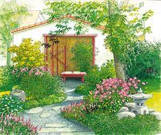 I like the layout, adapt to suit Garden Design Pictures, Back Garden Design, Balcony Plants, Outdoor Balcony, Flower Landscape, Landscape Design, Pocket Garden, Fire Pit Backyard, Garden Club
