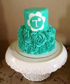 Turquoise rosette cake