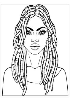 Illustration of African American pretty girl. Vector Illustration of Black Woman with dread locks glossy lips. Illustration over white background. Coloring book for adults. vector art, clipart and stock vectors. Black Girl Art, Black Women Art, Art Girl, Lock Drawing, Adult Coloring Pages, Coloring Books, Coloring Sheets, Colouring, African Drawings