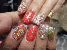 Cherry Blossom Monclova coah. Citas: 866 1390010 wspp Uñas, nails, acrilico , swarovski,goold, transparencia, rojo , cadena