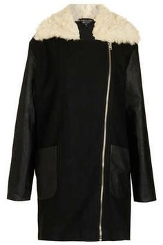 textured fur lined coat from topshop