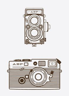 Some really lovely illustration by Daniel Ray Cole . Love the different camera illustrations! Camera Illustration, Graphic Design Illustration, Digital Illustration, Camera Sketches, Camera Drawing, Camera Art, Camera Icon, Lightroom, Photo Souvenir