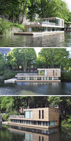 11 Awesome Examples Of Modern House Boats // This floating home has most of the…