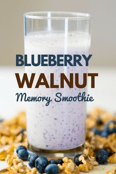 your memory with blueberry and walnut, ingredients proven to help your brain function better!Boost your memory with blueberry and walnut, ingredients proven to help your brain function better! Protein Smoothie Recipes, Protein Foods, Healthy Smoothies, Healthy Drinks, Healthy Recipes, Green Smoothies, Detox Drinks, Healthy Food, Healthy Eating