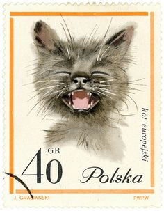Poland postage stamp: cat - I would love some awesome stamps for mailing.